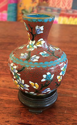 Old chinese cloisonne vase andwood stand