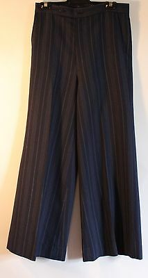 """SMALL, MENS BLUE STRIPED 1970's FLAIRED PANTS. ORIGINAL VINTAGE. WAIST 31"""" / 80C"""
