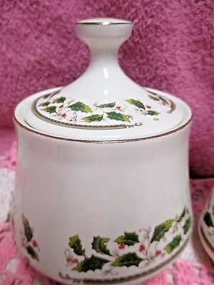 Holly Holiday Home for the Holidays Sugar Bowl with Lid Christmas
