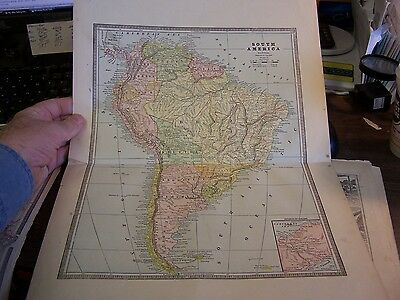 Antique - Map Of South America / Mexico, Cuba, C. America  - 1899  - Excellent
