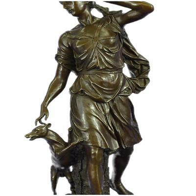 Bronze *DEAL* Sculpture *SALE* Statue Signed Mercie Greek Goddess With Dog Ex j