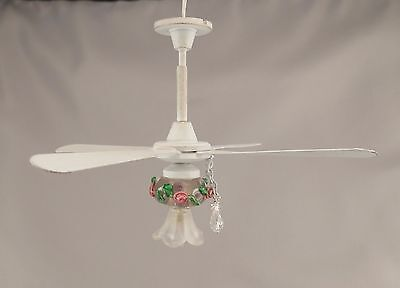 Dollhouse Miniature White Shabby Chic Ceiling Fan w Tulip Shade Pink Floral New