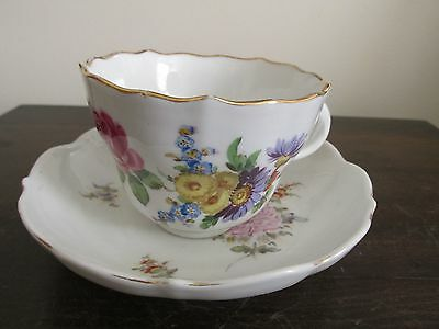 Meissen Germany Porcelain Tea Cup And Saucer Set Flowers #4