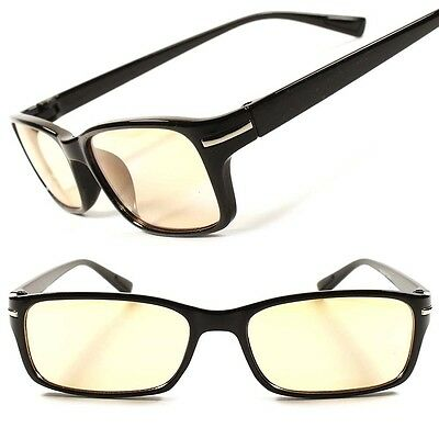 Yellow Tint Non Magnified Black Mens Womens Computer Reader Reading Glasses