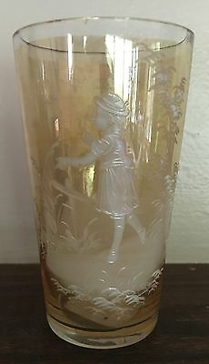 Antique Mary Gregory Yellow Hand Painted Glass Tumbler
