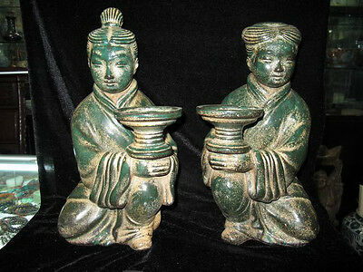 Chinese Jun porcelain old Two Candlestick green glaze Carving Boy and girl Vases