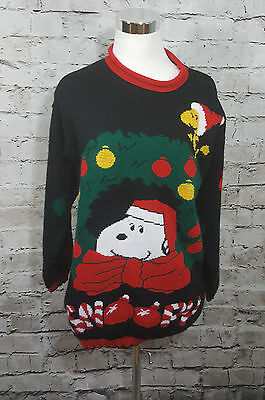 Vintage 80's SNOOPY AND FRIENDS Black Peanuts CHRISTMAS Party Woodstock Sweater