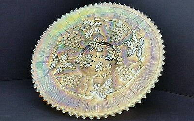 Northwood Grape and Cable Variant Basketweave Pastel Marigold Iridescent Plate