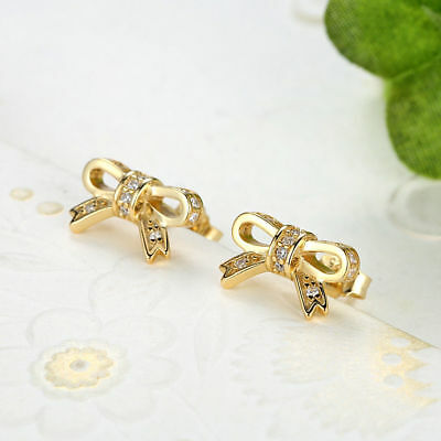 New Authentic 925 Sterling Silver CZ Sparkling Bow Stud Earring fit Fine Jewelry