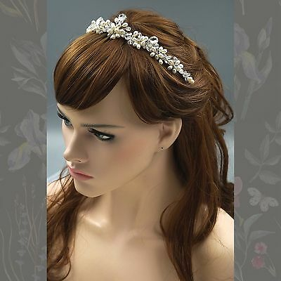 Crystal Pearl Flower Headband Headpiece Tiara Bridal Wedding Accessory 00378 S