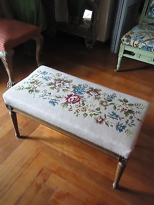 1930ca ANTIQUE VINTAGE WINDOW BENCH STOOL SEAT CHAIR NEEDLEPOINT WORK