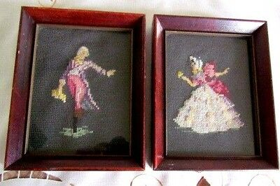 2 ANTIQUE Framed Needlepoint Victorian Figural Lord and Lady Cherry Wood RARE