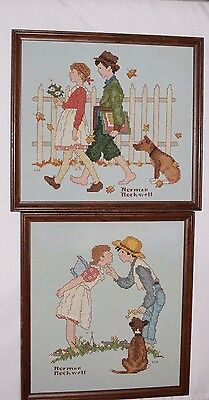 Framed Completed Counted Cross Stitch Norman Rockwell Girl Waiting