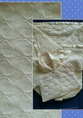 New Vintage 1950's White  2-Pc Baby Infant Bunting Set Jacket Quilted Knit