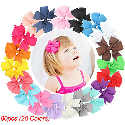 80pcs Baby Girls Kids Hair Bows Boutique Hair Grosgrain Ribbon Alligator Clip