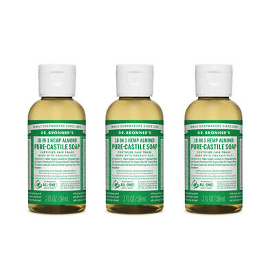 Dr Bronners PureCastille Liquid Soap Natural Organic Vegan Eco 59ml All Flavours
