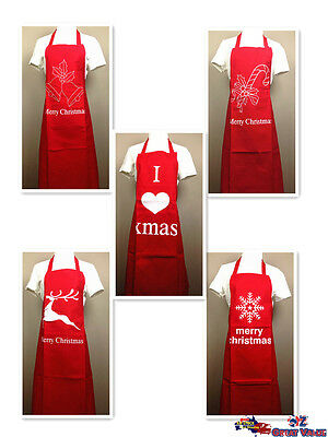 Merry Christmas Apron Christmas Gift Season Holiday Cotton Red 4521