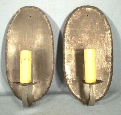 VINTAGE PAIR OF EARLY 20th CENTURY OVAL BACK TIN SCONCES WITH CRIMPED EDGE