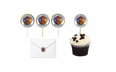 30 Five Nights At Freddy's Sticker Lollipop Label Party Favor 1.5 in Personalize