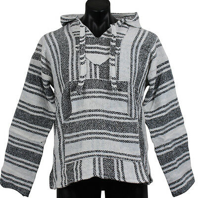 Mexican Baja Hoodie White & Black Surfer Pullover Poncho Size XLarge Unisex