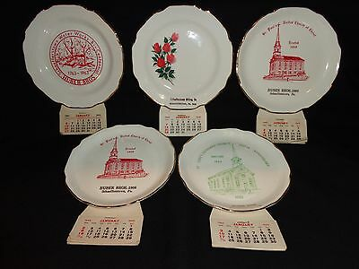 Vintage Lot of 5 Calendar Advertising Plates with Original Paper Calendars