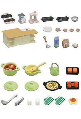 Two Sylvanian Families Sets - Island Kitchen and Cooking Sets