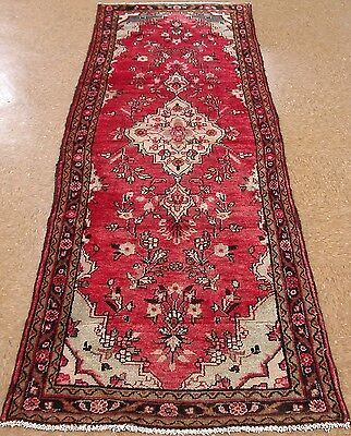 3 x 9 PERSIAN HAMEDAN Tribal Hand Knotted Wool RED BLACK Oriental Rug RUNNER