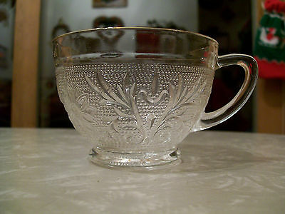 DEPRESSION GLASS - CRYSTAL SANDWICH CUPS WITH GOLD RIMS - 5 of them