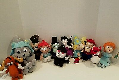 1999 Lot of 11 Bullwinkle & Friends Stuffins Beanies Sherman Rocky Fairy Dudley