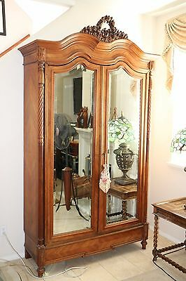 Antique French Louis XV Style Walnut Armoire w 2 Mirrored Beveled Doors Carved