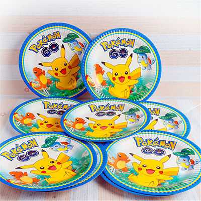 Pokemon Go Party Tableware Birthday Decorations Supplies Plates Knives Forks