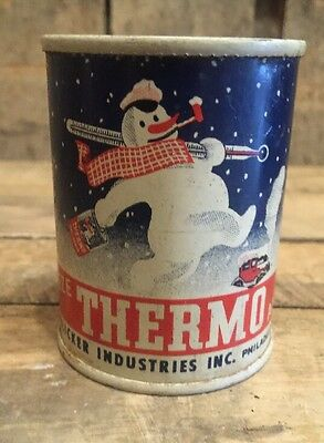 Vintage Gas Service Station THERMO Anti-Freeze Promo Bank Can Snowman Graphics