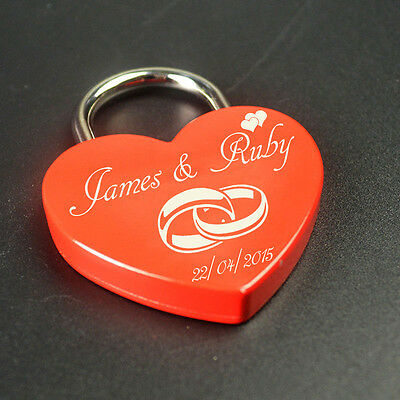 Personalised Engraved Valentine's Padlock Wedding Gift Love Heart Lock With Key