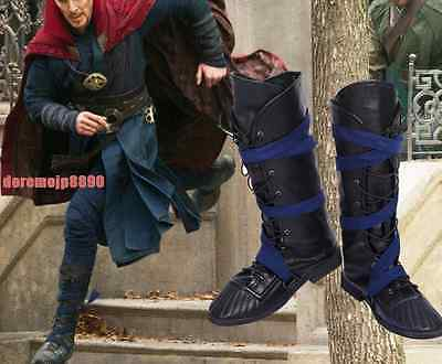 Customize! Mens Winter Black PU Shoes Doctor Strange Steven Cosplay High Boots