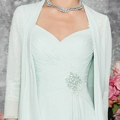 Light Blue Chiffon Mother of Bride Dresses With Long Coat Formal Women Outfits