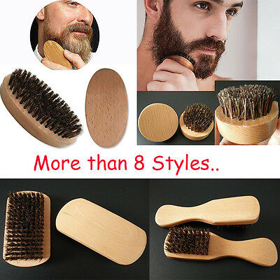 Natural Boar Bristle Beard Men's Mustache Brush Military Wood Handle Comb Gift