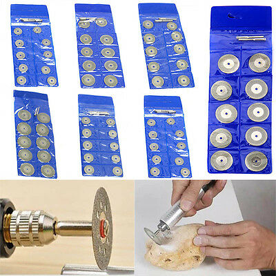 10x Diamond Cutting Wheel Disc Saw Blade For Rotary Tool +2 Mandrel Shaft SET