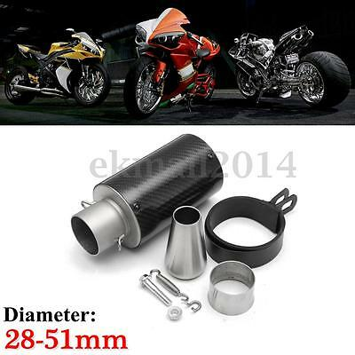 Universal 28-51mm Moto Fibre Carbone échappement Tuyaux Pipe Exhaust Street Bike
