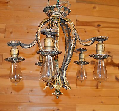 Antique Art Deco Nouveau 1920-30's Cast Aluminum Gold Painted Ceiling Chandelier