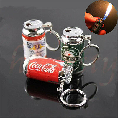 Beer/Coca Can Shaped Lighter Refillable Butane Gas Cigarette Smoke Keychain Gift