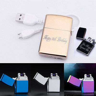 Personalized USB Electric Lighter Rechargeable Double Arc Pulse Engraved Gift