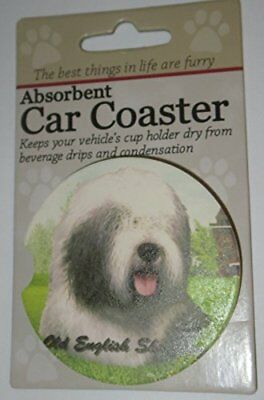 ES Pets Absorbent Stoneware Car Cup Holder Coaster, Old English Sheepdog