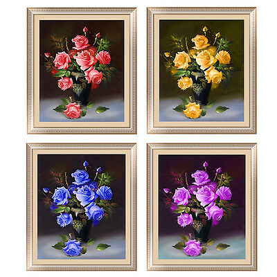 DIYDiamond Cross Stitch Kit Rose Vase Pink&Yellow&Purple&Blue Flowers Home Decor