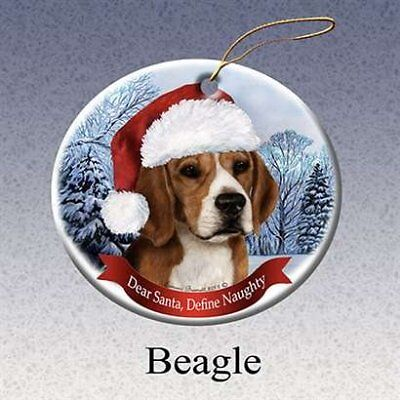 Holiday Pet Gifts Beagle Santa Hat Dog Porcelain Christmas Tree Ornament