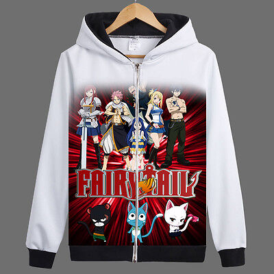 Anime Fairy Tail Natsu/Lucy Zipper Jacket Cosplay Hoodie Unisex Coat#ZZ-A74