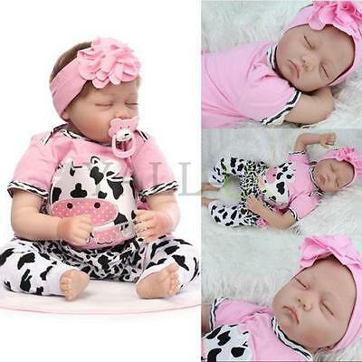 Handmade Reborn Baby Toy Newborn Lifelike Silicone Vinyl Sleeping Girl Dolls UK
