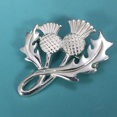Classical Sterling Silver SCOTTISH THISTLE Brooch Pin For Jacket Hat Scarf