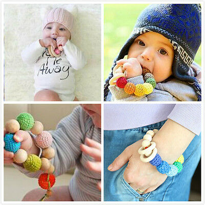 Teething Natural Round Wood Bracelet Baby Newborn Mom Kids Wooden Teether Toy