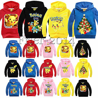 Pokemon Pikachu Kids Boys Girls Hoodie Hoody Pullover Sweatshirt T-Shirts Tops