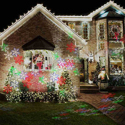 Moving Xmas Landscape Sparkling LED Snowflake Laser Projector Wall Lamp Light